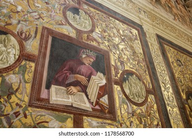 ORVIETO, ITALY, AUGUST 7, 2018 A fresco depicting Dante Alighieri in the Brizio Chapel, part of the Cathedral of Santa Maria Assunta.
