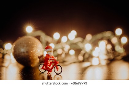 Orvieto, Italy - December 03th 2017: Santa Claus Lego minifugure decorate the Christmas tree indoors.