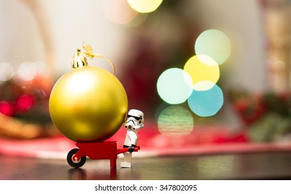 Orvieto, Italy - December  06th 2015: Couple of Star Wars Lego Stormtrooper minifigure make a christmas tree