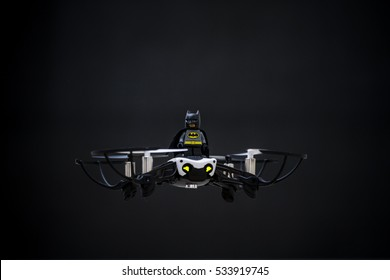 Orvieto, Italy - December 11th 2016: Portritrait of Batman minifigure on a drone.  Lego is a popular line of construction toys manufactured by the Lego Group
