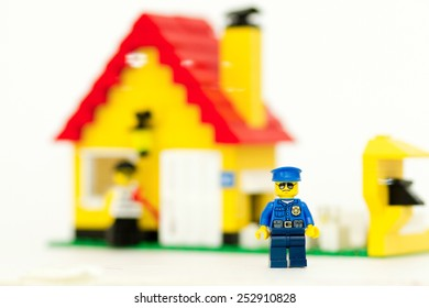 Orvieto, Italy - February 12th 2015: Lego Thief steals in apartment. Lego is a popular line of construction toys manufactured by the Lego Group