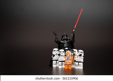 Orvieto, Italy - January 12th 2015: Group o Star Wars Lego Stormtroopers mini figures take a selfie with Darth Vader.  Lego is a popular line of construction toys manufactured by the Lego Group
