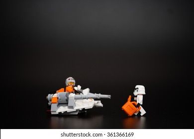 Orvieto, Italy - January 12th 2015: Star Wars, Lego minifigure of Stormtroopers is rescued by tow truck