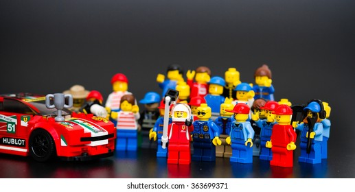 Orvieto, Italy - January 17th 2015: . Lego minifigure driver of Ferrari racing car take a selfie with with their fans.