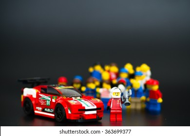 Orvieto, Italy - January 17th 2015: . Lego minifigure driver of Ferrari racing car. Lego is a popular line of construction toys manufactured by the Lego Group