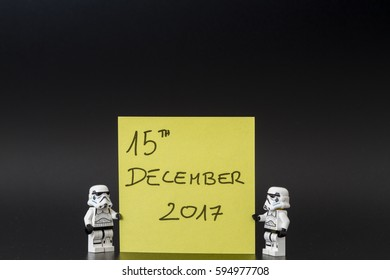 Orvieto, Italy - March 05th 2017: Pair of Star Wars Lego Stormtroopers  with memo reminder of the release date of the new film.