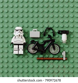 Orvieto, Italy - March 11th 2016: Lego minifigure Stormtroopers and objects for Urban Life.