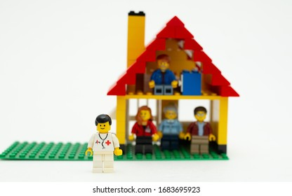 Orvieto, Italy - March 19th 2020: Lego family in quarantine due to covid-19. Focus on doctor