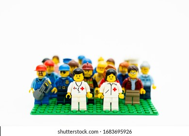 Orvieto, Italy - March 19th 2020: Lego doctors against covid -19. Lego is a popular line of construction toys manufactured by the Lego Group