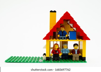 Orvieto, Italy - March 19th 2020: Lego family in quarantine due to covid-19