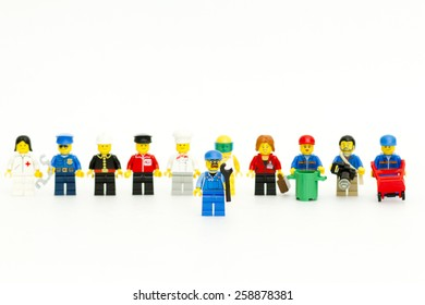 Orvieto, Italy - March 8th 2015: Group of Lego workers.  Lego is a popular line of construction toys manufactured by the Lego Group