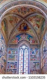 Orvieto, Italy - May 19,2009: Cathedral interior,   the presbytery with frescoes by Ugolino Di Prete Ilario