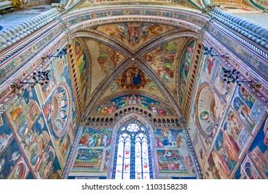 Orvieto, Italy - May 19,2009: Cathedral interior,  upward view of the presbytery with frescoes by Ugolino Di Prete Ilario