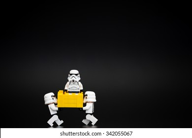 Orvieto, Italy - November 15th 2015: Group of Star Wars Lego Stormtroopers friends. Lego is a popular line of construction toys manufactured by the Lego Group