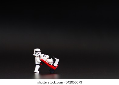 Orvieto, Italy - November 15th 2015: Couple of Star Wars Lego Stormtroopers minifigures. Lego is a popular line of construction toys manufactured by the Lego Group