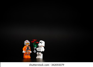 Orvieto, Italy - November 15th 2015: Star Wars Lego Stormtroopers minifigures. Lego is a popular line of construction toys manufactured by the Lego Group