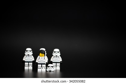 Orvieto, Italy - November 15th 2015: Star Wars Lego Stormtroopers mini figures fans. Lego is a popular line of construction toys manufactured by the Lego Group