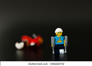 Orvieto, Italy - November 15th 2017: Lego minifigure victim of a motorcycle accident.