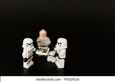 Orvieto, Italy - November 15th 2017: Star Wars Lego Stormtroopers minifigures eating a pizza.
