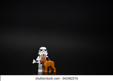 Orvieto, Italy - November 22th 2015:  Star Wars Lego Stormtroopers minifigures and her dorg. Lego is a popular line of construction toys manufactured by the Lego Group