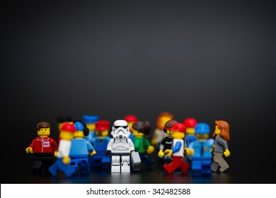 Orvieto, Italy - November 22th 2015: Lego Stormtroopers minifigures in a in the crowd. Lego is a popular line of construction toys manufactured by the Lego Group