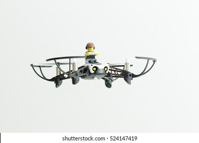 Orvieto, Italy - November 27th 2016: Lego minifigure flying on a drone.