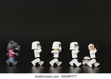 Orvieto, Italy - October 26 2016: Group of Star Wars Lego Stormtroopers mini figures fun in Halloween time . Lego is a popular line of construction toys manufactured by the Lego Group