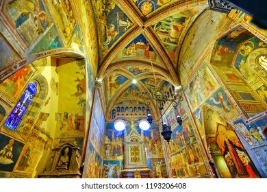 Orvieto, Italy - September 13, 2016 : View of the Orvieto Cathedral with beautiful sculptures and painting on the facade in Orvieto on September 13, 2016.