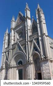 ORVIETO, ITALY - SEPTEMBER 14 2013 - Facade of the Duomo Cathedral of Orvieto in Italy