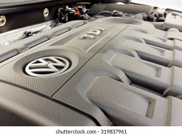 Orvieto, Italy - September 23th 2015: Close up of 	diesel engine  Volkswagen