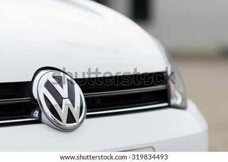 Orvieto, Italy - September 23th 2015: Close up of Volkswagen logo on a Golf 1.6 Tdi model 2015