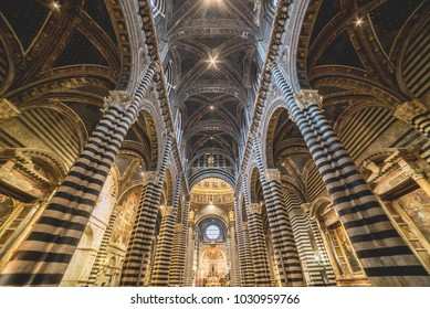 Orvieto, Terni, Italy -  10, 2016: Internal view of the beautiful cathedral of Orvieto with colums and lights, Terni, Umbria, Italy