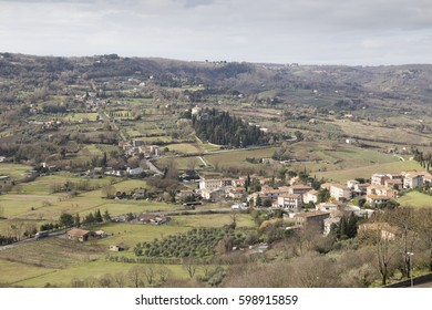 Orvieto from the top hill in Umbria Italy