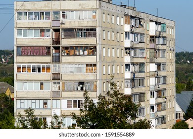 ORYOL (OREL), RUSSIA - AUGUST 20, 2019. View of the Russian multi-storey building.