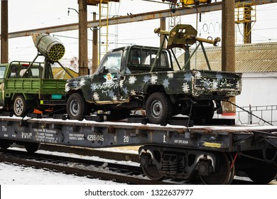 "ORYOL, RUSSIA - FEBRUARY 25, 2019: Cars Syrian jihadists. The train of the military-patriotic action ""Syrian fracture"" with captured military equipment visited the city of Oryol"