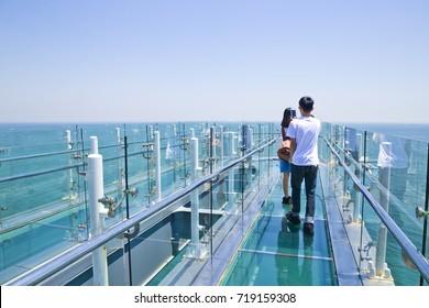 Oryukdo skywalk is transparent skywalk to see Oryukdo islands in Busan, Korea. Oryukdo means five-six island