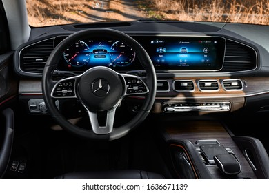 Orzesze/Poland - 01.12.2020: Cabin of Luxury Mercedes GLE finished with real wood and leather and a huge multimedia screen MBUX.
