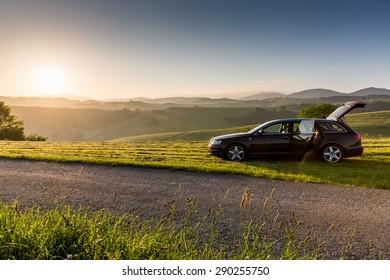 OSADKA, SLOVAKIA - JUNE 5: Views nature and sunrise near Osadka on June 5, 2015. Osadka is a small village in the Orava region near the town Dolny Kubin in Slovakia.