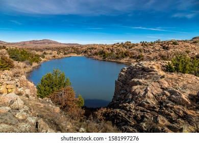 The Osage Lake in Wichita Mountains Wildlife Refuge in Oklahoma, United States of America during a sunny day in autumn.