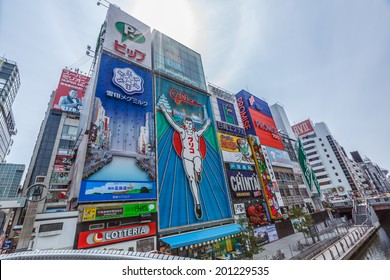 OSAKA -APRIL 7: Billbords at Dotonbori on April 7, 14 in Osaka. It is one of the principal tourist destinations in Osaka, Japan. It is a single street, running alongside the Dotonbori canal.