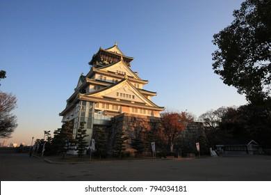 Osaka Castle in autumn in Japan
