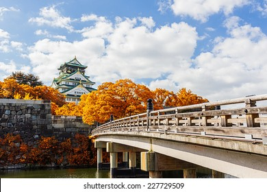 Osaka Castle in Osaka  with autumn leaves, Japan,  landmark of Unesco.