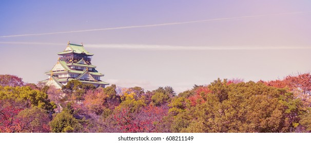 osaka castle with blue beautiful sky and tree in osaka park at osaka japan autumn season travel