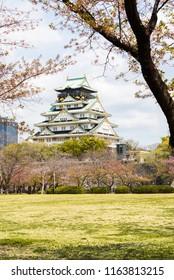 Osaka castle in cherry blossom season, Osaka, Japan