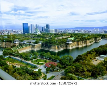 The Osaka Castle for high view on morning.