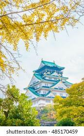 Osaka castle in Osaka Japan