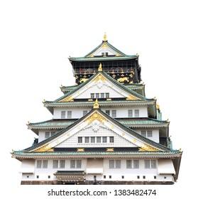 Osaka castle, Japanese ancient castle in Osaka, Japan. UNESCO world heritage site. Isolated on white background