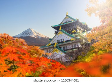 Osaka castle and maple autumn leaves with Fuji mountain background, One of Japan's premier historic castles, Japan
