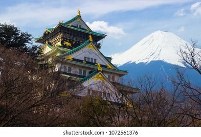 Osaka castle with Mountain Fuji - Shutterstock ID 1072561376