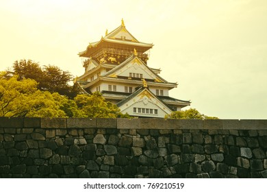 Osaka castle in Osaka at sunset time - Japan